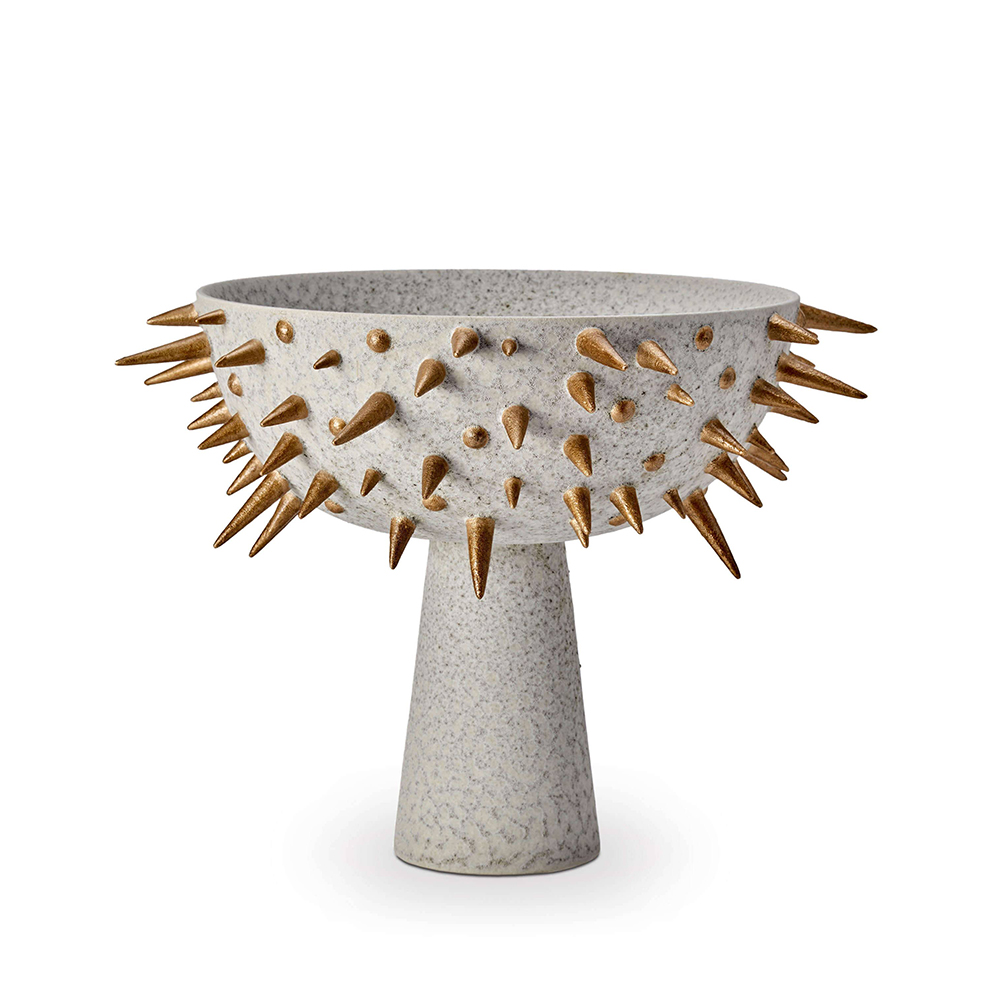 L'Objet Celestial Bowl On Stand Large in gray