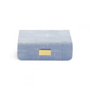 Aerin Modern Shagreen Jewelry Box in blue