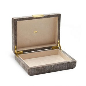 Aerin Shagreen Jewelry Box in Chocolate