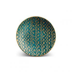 L'Objet Fortuny Tapa Canape Plates Set Of 4 in Teal