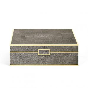 Aerin classic shagreen jewelry box chocolate
