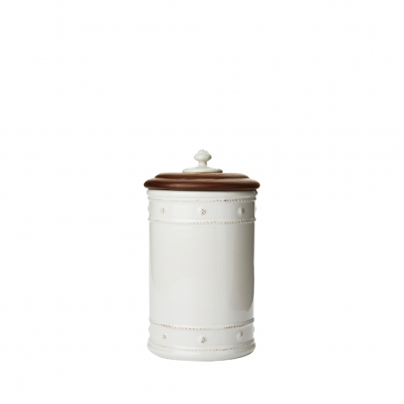 Berry and Thread Whitewash Canister With Wooden Lid