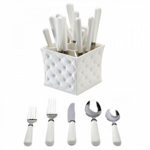 Q Squared Provence 20 pieces Flatware Set with Caddy