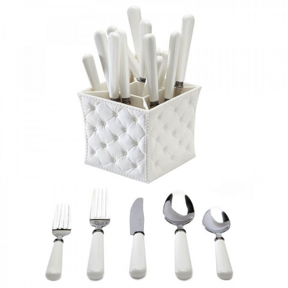 Q Squared Provence 20 Piece Flatware Set with Caddy