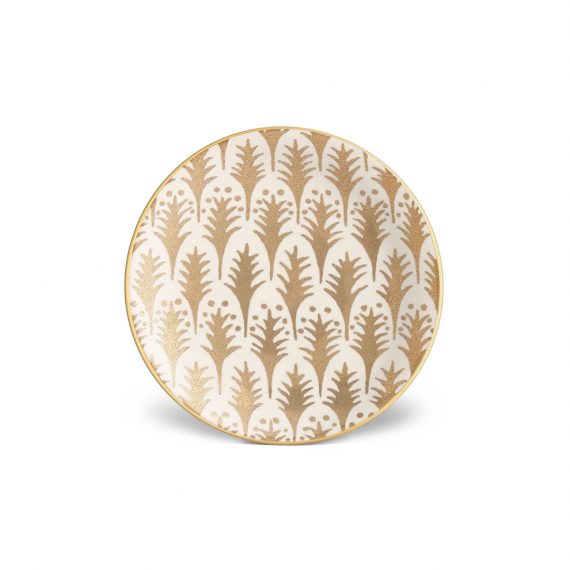 L'Objet Fortuny Piumette Canape Plates Set Of 4 in Gold