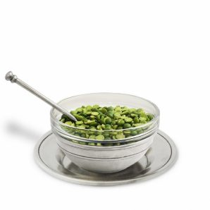 MATCH PEWTER Condiment Uno With Spoon And Saucer
