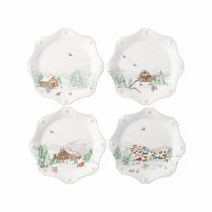 JULISKA Berry & Thread North Pole Scalloped Dessert and Salad Plate Set Of 4