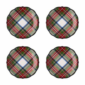 JULISKA Stewart Tartan Cocktail Plates Set Of 4