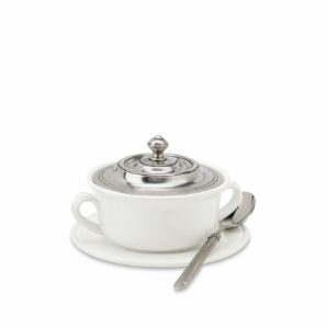 MATCH PEWTER Convivio Covered Soup Bowl with Plate