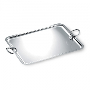 Christofle Large Silver Plated Rectangular Tray With Handles Silver