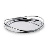 Christofle Large Silver Plated Round Serving Tray Silver
