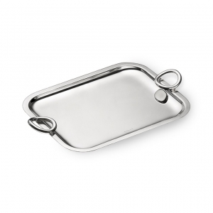 Christofle Large Silver Plated Rectangular Tray With Handles Sliver