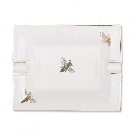Large Ashtray and Change Tray - White Bee