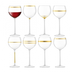 LSA International Deco Wine Goblet Gold Set of 8