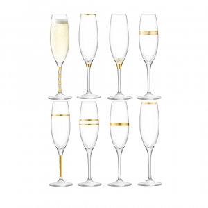 LSA International Deco Champagne Flute Gold Set of 16