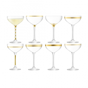 LSA International Deco Champange Saucer Gold Set of 8