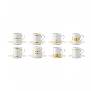 LSA International Deco Espresso Cup & Saucer Gold Set of 8