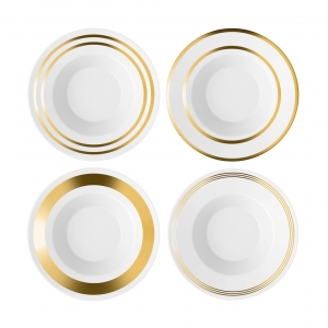 LSA International Deco Soup/ Pasta Bowl Gold Set of 4