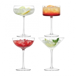 LSA International Lulu Champagne and Martini Glass Clear Set of 12