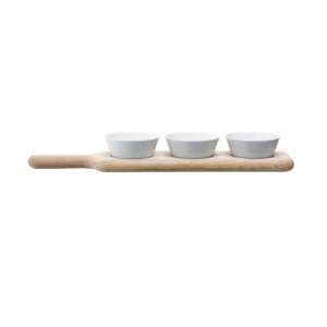 LSA International Paddle Bowl & Oak Paddle White