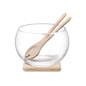 LSA International Serve Salad Set & Oak Base Set of 2 Clear