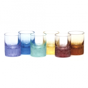 Moser Crystal Pebbles Shot Glass 2 Oz. Set of 6 Rainbow Colors