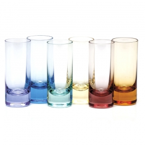 Moser Crystal Vodka Shot Glass 2.5 Oz. Set of 6 Rainbow Colors
