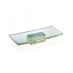 Annie Glass Gold Rectangular Slab With Pedestal