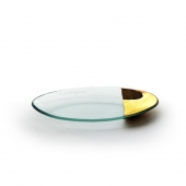 Annie Glass Mod Gold Oval Server