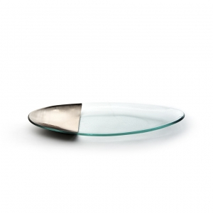 Annie Glass Mod Silver Oval Server