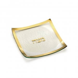 Annie Glass Judaica Square Matza Plate