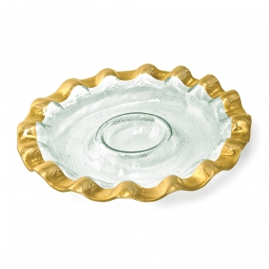 Annie Glass Ruffle Round Chip & Dip Server