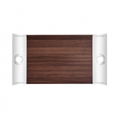Christofle Oh De Christofle Rectangular Tray In Stainless Steel And Walnut Wood Wood
