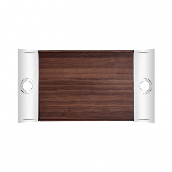 Oh de Christofle Rectangular Tray in Stainless Steel and Walnut Wood