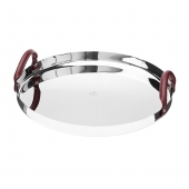 Christofle Mood Nomad Round Tray In Polished Stainless Steel And Leather Handles Silver