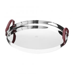 Christofle Mood Nomad Round Tray In Polished Stainless Steel And Leather Handles Sliver