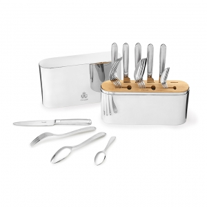 Christofle Concorde 24 Piece Stainless Steel Flatware Set Silver