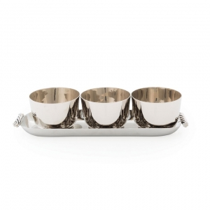Michael Aram Twist Triple Bowl Set With Tray Silver