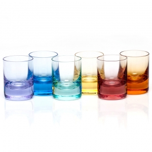 Whisky Shot Glass 2 Oz. Set Of 6 - Rainbow Colors