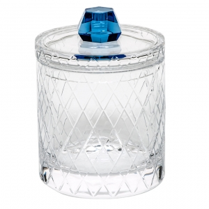 "Moser Crystal Bonbon Canister 8.5"" H with Lid & Wedge Cuts Clear & Aqua"