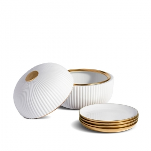 L'Objet Ionic Box + Plates Set White
