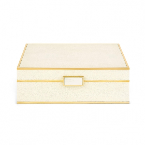 Classic Shagreen Jewelry Box - Cream