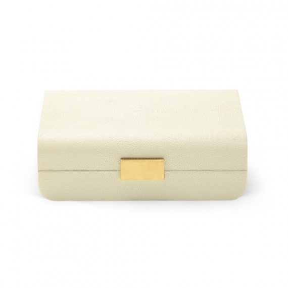 Modern Shagreen Jewelry Box - Cream
