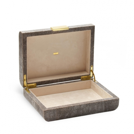 Modern Shagreen Jewelry Box - Chocolate