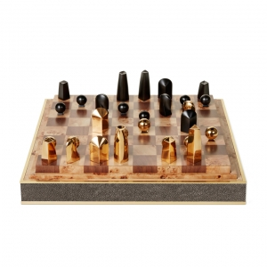 Aerin Shagreen Chess Set Chocolate