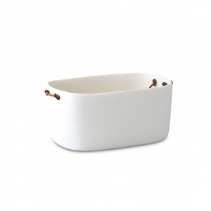 Tina Frey Large Champagne Bucket With Leather Handles White