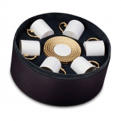 L'Objet Aegean Espresso Cup and Saucer Set of 6 Gold