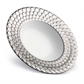 L'Objet Aegean Rimmed Serving Bowl Platinum