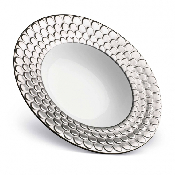 Aegean Rimmed Serving Bowl - Platinum