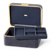 Aerin Beauvais Velvet Jewelry Box Blue